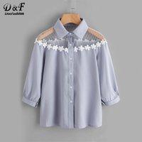 Wholesale Equipment Blouses - Dotfashion Flower Lace Insert Shirt Blue Lapel Equipment Button Woman Top And Blouse 2017 Autumn 3 4 Sleeve Cute Blouse