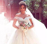 Ball Gown Wedding Dress for sale - Glamorous Tulle Off shoulder Neckline Ball Gown Wedding Dress Elegant Sweetheart Lace Appliques Bridal Vestido De Novia 2018 Wedding Gowns