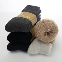 kaschmir handtücher großhandel-Neuer Winter verdicken die warmen Kaninchen-Kaschmir-Socken der Wollsocken-Männer für Männer Normallack-beiläufiges Tuch 5 Paare / Los