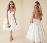 Wholesale front mini skirt - 2018 Short Beach Wedding Dresses Country Cheap A-line Lace Spaghetti Straps Knee Length Backless Wedding Bridal Gown vestido de novia