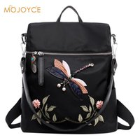 Wholesale dragonfly bags - Women's Backpacks Girl 3D Dragonfly Flower National Embroidery Print Handmade Dragonfly Woman Shoulder Bags 2017 Brand Fashion
