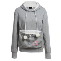 Wholesale Black Hoodie Ears - Cat Lovers Hoodies With Cuddle Pouch Dog Pet Hoodies For Casual Kangaroo Pullovers With Ears Sweatshirt XL Drop Shipping