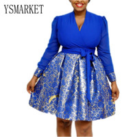 f4e67629e7c YSMARKET Office Lady A Line Dress Spring Autumn Long Sleeve Sexy V-neck  White Blue Splice Print Dresses african clothing For Women E5101