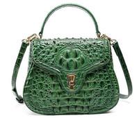 Wholesale Alligator Skin Bag - High-grade 2018 New Women Aligator Messenger Crossbody Genuine Leather Bags Shoulder Handbag Lady Crocodile skin Bag Q1026