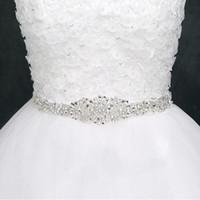 faja al por mayor-Fajas de boda baratas para novias Bodas nupciales Vestidos Cinturones Rhinestone Cintas de cinta de cristal en stock Proveedor de fábrica