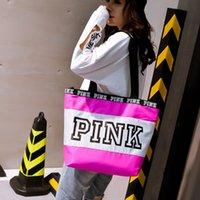 6c9a1f23f9ea3 tiendas de deporte baratas al por mayor-PINK2001 Moda Rosa Carta Bolsa de  Deporte Mujeres