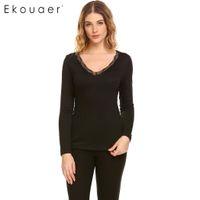 b8f66128eda82 Ekouaer Women Warm Underwear Tops Casual V-Neck Long Sleeve Back Lace  Patchwork Slim Waist Solid Sleep Top Thermal Long Johns