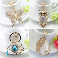 Wholesale Wholesale Purse Chains - White Butterfly Turtle Pendant Charm Rhinestone Crystal Purse Bag Keyring Key Chain Accessories Wedding Party Lover Friend Gift