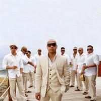 groomsmen takım elbiseleri toptan satış-Custom Made Keten Yaz Plaj Düğün Damat Smokin Slim Fit Erkekler Suits Yakışıklı İyi Adam Blazers 3 Parça Ceket Pantolon Yelek Groomsmen Balo