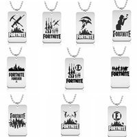 Wholesale necklace pendant designs - Fortnite Necklace10 Designs Fortnite Logo Stainless steel Pendant Laser Printing Metal key chain Jewelry Kids toy GGA602 60PCS