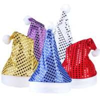 Wholesale santa animals online - Hot color Santa Claus Hat Sequin Christmas Cosplay Hats Christmas Decoration Adults Christmas Party Hats pcsT1I830
