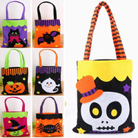 Wholesale clothes wraps online - Halloween Non Woven Bags Cotton Candy Gift Wrap Bags For Ghost Pumpkin Spider Skull Handle Tote Bag Party Xmas Decoration Supplies HH7