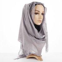 arabische kopfschals großhandel-Retro Quasten Schal Frauen Muslim Wrap Hijab Mode Hohl Dünne Wraps Islam Schals Elegante Blume Arab Head Schals