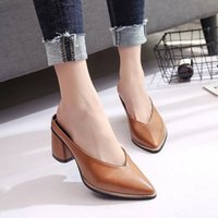 Wholesale pointy toe ankle strap heels - Womens High Heels Sandals PU Leather Pumps Party Casual Shoes Slip-on Sexy Pointy Toes Chunky Heel Mule Slippers Solid Colors