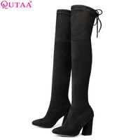 Wholesale heels boots 43 resale online - QUTAA New Flock Leather Women Over The Knee Boots Lace Up Sexy High Heels Women Shoes Lace Up Winter Boots Warm Size
