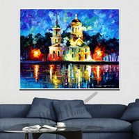 Wholesale oil paint abstract buildings for sale - Group buy Modern Attractive Knife Oil Painting on Canvas Handmade Attractive Beautiful House High Building for Living Room Bedroom Bathroom Wall Decor