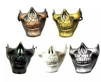ingrosso maschere paintball scheletro-CS Military Skeleton Mask Skeleton Paintball Lower Half Face Warrior 3 Generazioni Masquerade Mask Halloween Party Mask Carnival Gift