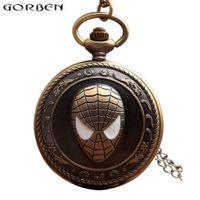 ingrosso orologi in bronzo per le donne-Vintage Spiderman antico orologio da tasca con catena retrò bronzo Flip Quartz Collana Fob orologio ciondolo per uomini donne regalo