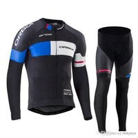 Wholesale orbea bike cycling long online - ORBEA team Cycling long Sleeves jersey bib pants sets mens quick dry Clothing mountain bike Gel Padded ropa ciclismo C1416