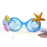 plaj sahanlıkları toptan satış-Denizyıldızı Gözlük Kabuk Sandy Beach Fotoğraf Prop Süslemeleri Parti Malzemeleri Hediye Gözlükler Komik Mavi Yüksek Kalite 9 8sf V