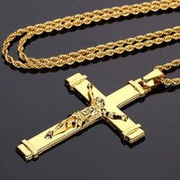 Wholesale thick 14k gold chains - 2018 New Style Jesus Cross High-quality Thick Gold Mens Jewelry Crucifix Christian Fashion Jewelry Necklaces & Pendant For Gift