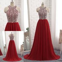 Wholesale knit dress collar black - 2018 Dark Red Chiffon Long Evening Dresses Beaded Top Prom Dresses Luxury A-line Cheap Off Shoulder Prom Party Gown Vestidos De Fiesta