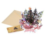 ingrosso biglietti augurali di anniversario fatti a mano-Merry Christmas Tree Vintage 3D taglio laser pop-up carta fatta a mano su misura cartolina d'auguri Anno nuovo regalo Anniversario cartolina ricordo