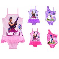 Wholesale xxl one piece swimsuit - 5 colors Game Fortnite printing children Swimwear 2018 summer One-Pieces baby girls Cosplay Swimsuit cartoon Bikinis MMA358 20pcs