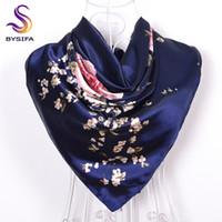 ingrosso grande sciarpa di seta blu-[BYSIFA] Navy Blue Rose cinesi grandi sciarpe quadrate Nuova femmina eleLarge sciarpa di seta Accessori moda donna 90 * 90cm