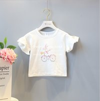 Wholesale Fashion Bike Shorts - cute T-shirt 2018 INS hot styles New summer girl kids cute cotton rabbit and bike print blouse kids elegant high quality t shirt