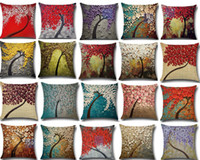 Wholesale cherry plain - 45x45CM Cushion Cover Vintage Flower Pillow Case Mural Yellow Red Tree Wintersweet Cherry Blossom Home Decorative Throw Pillow Cover