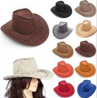 vizör kovboy şapkası toptan satış-Batı Kovboy Şapkaları Erkek Kadın Çocuk Ağız Kapaklar Retro Güneşlik Şövalye Şapka Cowgirl Ağız Şapkalar EEA293