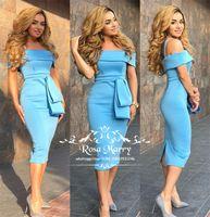 короткое синее платье для возвращения на родину просто оптовых-Sexy Blue Короткие Дешевые Коктейльные Платья 2019 С Плеча Плюс Размер Чай Длина Дешевые Простые Арабские Вечерние Платья Homecoming