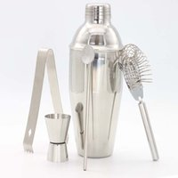 Wholesale bar sets cocktail shaker - Bar Cocktail Shaker Mixer tools set 5pcs Stainless Steel Bartender Drink wine mixer Kit Professional Bar Tools