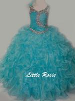 chicas bonitas vestidos talla 12 al por mayor-Sandía bonita Rojo Blanco Azul Perlas Vestidos de niña de flores Vestidos del desfile de chicas Días de fiesta / Vestido de cumpleaños / Falda Tamaño personalizado 2-14 DF710330