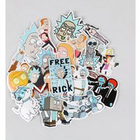 Wholesale cars sets - 35Pcs set Drama Rick And Morty Stickers Decal For Snowboard Laptop Luggage Car Fridge For Car Laptop Bicycle Motorcycle Notebook