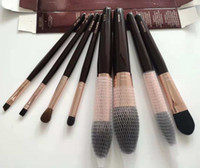 Wholesale eyes makup for sale - Group buy CTSeriers Makup Brush Set Powder Sculpt Bronzer Blusher Eye Smudger Foundation Lip Brush With Retail Box Wool Hair Burgundy DHL