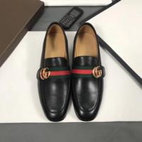 modelos vestidos de negro al por mayor-(caja original) Marca de calidad superior Zapatos de vestir formales para hombres suaves Zapatos de cuero genuino negro Zapatos de punta estrecha para hombres Oxfords modelo 1012