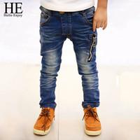 moda crianças denim venda por atacado-ELE Olá Desfrutar Calças Jeans Meninos 2018 Moda Meninos Jeans Para Primavera Outono das Crianças Denim Calças Crianças Azul Escuro Projetado Da Calça