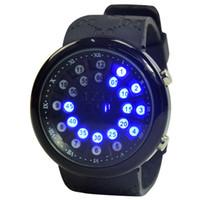 наручные часы магазин оптовых-New fashion LED watch popular cool blue watch large screen wear-resistant glass mirror sci-fi visual design waterproof