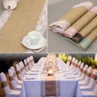 dantel düğün masa örtüleri toptan satış-Keten Masa Bayrağı Afiş Dantel Masa Koşucu Avrupa tarzı Moda Masa Örtüleri Düğün Sandalye Örtüsü Dekor Noel Ev Dekorasyon
