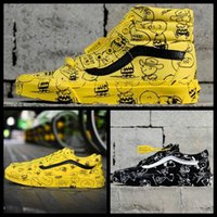 cartoons de sapato venda por atacado-off VANSES Vault x Bad Brains Amendoim Skool Velho Sk8-Oi Mens Das Mulheres Casuais Sapatos de Grife Branco Snoopy Dos Desenhos Animados Graffiti Canvas Sneakers Esportes