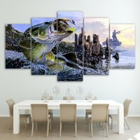 Wholesale wall fish panel resale online - Abstract Canvas Painting Wall Art Oil Poster Wall Modular Pictures Panel Huge Fish For Living Room Home Decor Frames