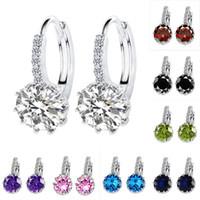 Wholesale copper hoop heart earrings online - Fashion Cubic zirconia hoop Earrings colors crystal Rhinestone CZ Silver Plated drop earrings For women ladies Engagement Jewelry Gift