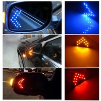 Wholesale side mirror signals - 2PCS New Durable Safety LED Yellow Red Blue Arrow Panels Cars Truck Side Mirror Turn Signal Bright Indicator Indicator Lights