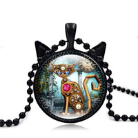 Wholesale Trendy Sweaters For Women - Trendy Silver Gold Black Cat Face Time Gemstone Cartoon Necklace Cat Ear Pendant Sweater Chain for Women Men