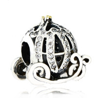 Wholesale pumpkin charm gold - Authentic 925 Sterling Silver Cinderella Pumpkin Charm Beads Gold Plated CZ Rhinestone Pumpkin Bead Fits Pandora Bracelets DIY Fine Jewelry