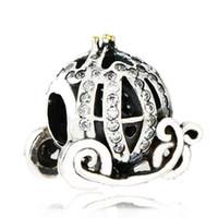 perles de cendrillon achat en gros de-Authentique 925 Sterling Silver Cinderella Charme citrouille Perles Plaqué Or Cristal Strass Perle Citrouille Convient Bracelets Pandora Bijoux DIY