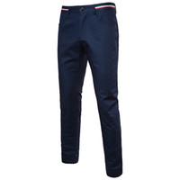 erkek elbisesi pantolonu toptan satış-YENI 2018 bahar yaz erkek pantolon slacks erkek erkek pantolon düz Slim fit erkek elbise pantolon çizgili resmi suit pantolon