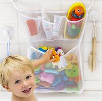 banyo oyuncak depolama net toptan satış-Toptan-renkli Bebek Oyuncak Örgü Saklama Çantası Banyo Küvet Bebek Organizatör Emme Banyo Sayfalar Net Banyo Asılı Çanta